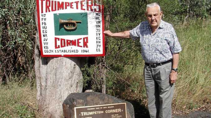 Former Chinchilla resident and trumpeter, Wal Underwood at Trumpeters Corner in 2008. Mr Underwood lived to 100 years and was the last of the Trumpeters.