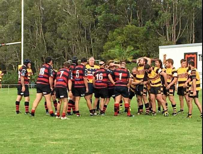 Referee Darren Jameson sets the scrum for Coffs Harbour and Bowraville reserve grade.