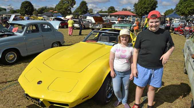 CAR CLUB: Clifford Park Special School students Olivia Templeman and William Maxwell check out a Corvette.