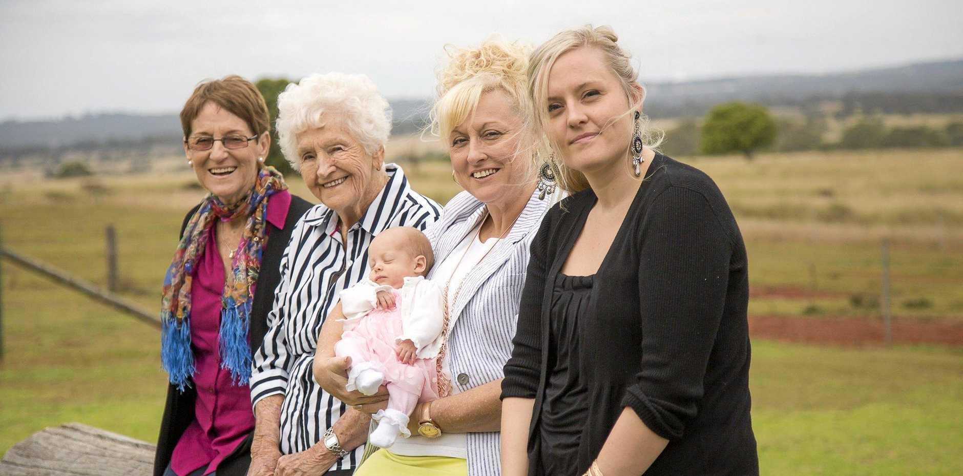 FIVE GENERATIONS: Maureen Jones (formerly from Maryborough), birthday girl Dorothy Schmidt, Donna Freyling (Kingaroy), baby Jayne Flynn (Chinchilla) and Kristen Flynn (Chinchilla).