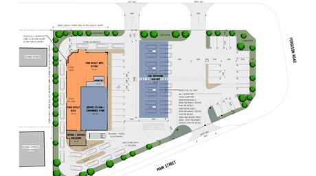A site plan for the new Westbrook service station.