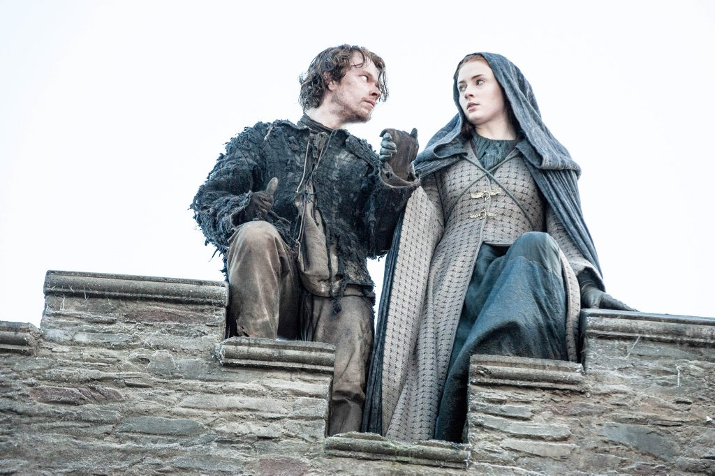 Alfie Allen and Sophie Turner in a scene from the TV series Game of Thrones. Supplied by Foxtel. Please credit photo to Helen Sloan.