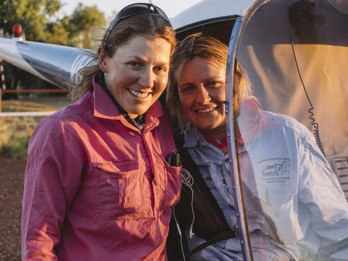 Sara Pearce and Annabelle Coppin on Yarrie Station. Annabelle can also fly a helicopter.