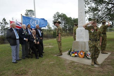 Invited Korean Veterans (from left) Mick Judge, Ken Geisler, John Fitzpatrick, Snow McClymont and seated Jack Leigh are at the Ramornie Cenotaph with the 24th Army Cadet Unit Grafton during the ANZAC Commemoration service at Ramornie on Sunday, 24th April 2016. Photo Debrah Novak / The Daily Examiner