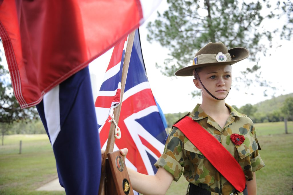 Company Sergeant Charlotte Benfield of the 24th Army Cadet Unit Grafton during the Ramornie ANZAC Commemoration service at Ramornie on Sunday, 24th April 2016. Photo Debrah Novak / The Daily Examiner