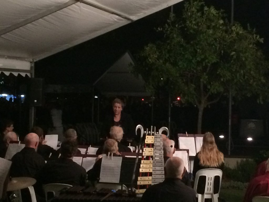 Buderim Concert Band plays for a crowd of thousands at Cotton Tree ahead of the 2016 Anzac Day dawn service.
