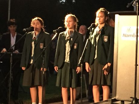 Nambour Christian College students sing Remember The Hero.