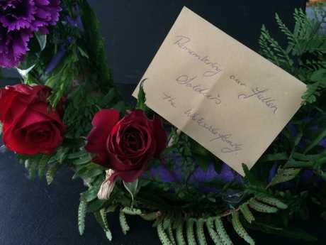 A wreath placed at the Buderim Anzac dawn service.