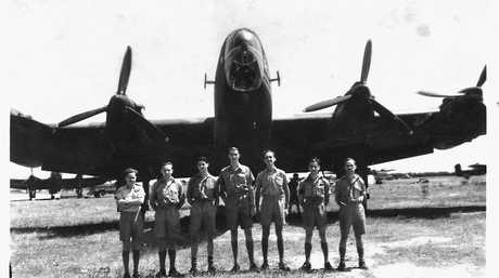 The crew of Halifax C Charlie (from left) Hec Nicols - Navigator, Tony Mansfield - Engineer, Charlie Dawson - Despatcher, Reg Eisenhauer - Pilot, Keith Dare - Bomb Aimer, Jack Fletcher - Rear Gunner and Bryan Ridings - Wireless Operator.
