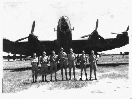 The crew of Halifax C Charlie (from left) Hec Nicols - Navigator, Tony Mansfield - Engineer, Charlie Dawson - Despatcher, Reg Eisenhauer - Pilot, Keith Dare - Bomb Aimer, Jack Fletcher - Rear Gunner and Bryan Ridings - Wireless Operator.