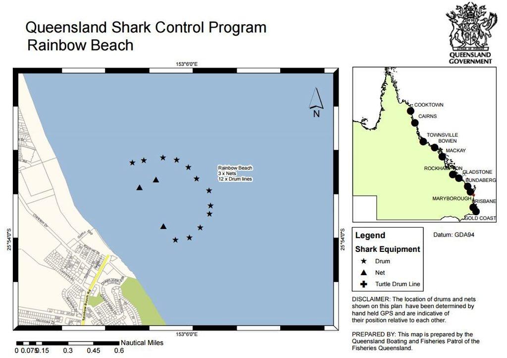 A map of Queensland Shark Control Program equipment at Rainbow Beach