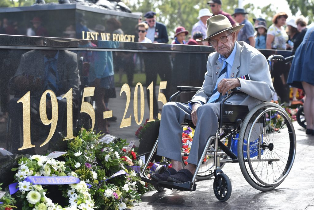 SERVICE MEMORIES: 101-year-old veteran Albert Schmidt remembers his days in WWII. He is pictured at Monday's Hervey Bay's main Anzac ceremony.