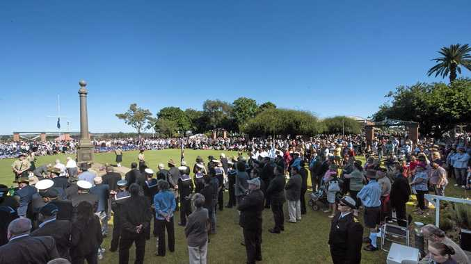 The large crowd gathered at Memorial Park for the Grafton Anzac Day service Photo Adam Hourigan / The Daily Examiner