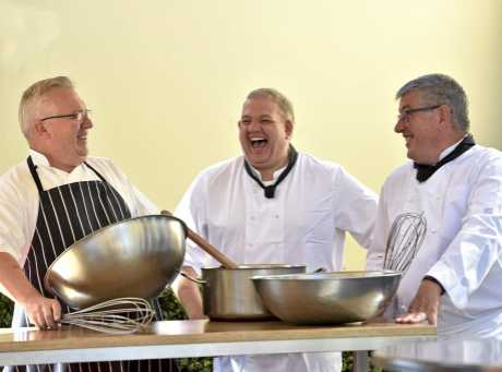Toowoomba chefs (from left) Marc Kennedy, Mark White and Stephen Simon prepare for the Three Fat Chefs Italian Feast, a charity event to raise money for the Toowoomba Hospital Foundation.