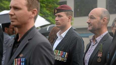 Private Luke Devlin at the Anzac Day parade in Lismore.