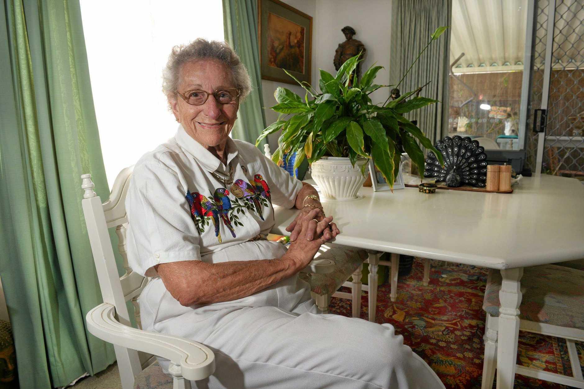 Margaret Walton   at home after her skydive.
