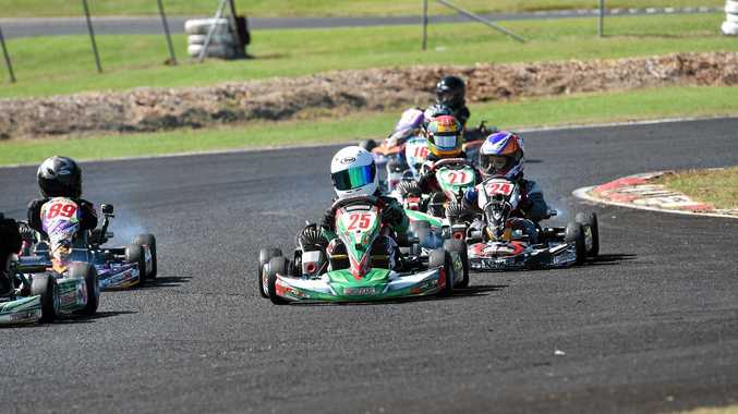 Noah Smith competes in the Cadet 9 category at the 20th Young Guns event at the Lismore Kart Club.