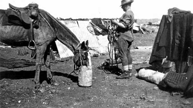 ROUGHING IT: NSW Imperial Bushmen's primitive camp during the Boer War.
