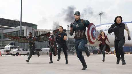 From left, Anthony Mackie, Paul Rudd, Jeremy Renner, Chris Evans, Elizabeth Olsen and Sebastian Stan in a scene from Captain America: Civil War..