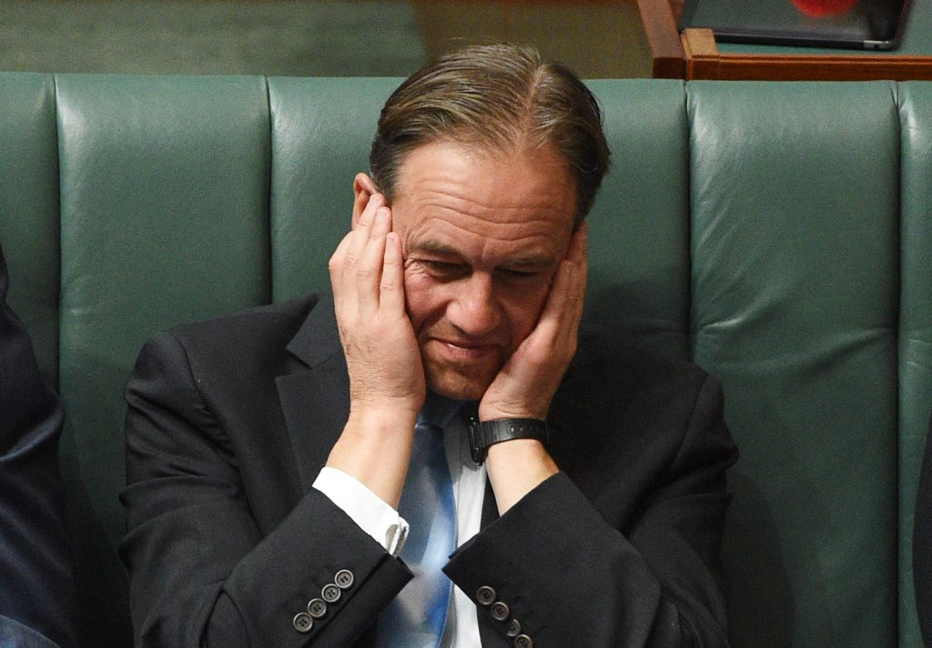 Minister for the Environment Greg Hunt during Question Time at Parliament House in Canberra on Monday, April 18, 2016. (AAP Image/Mick Tsikas) NO ARCHIVING
