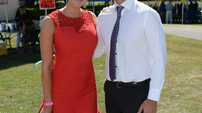 POLE POSITIONL: It's no surprise that CQ model Kimberley Busteed (pictured with  Chris Simpson at the Yeppoon races) would find her profession in the number-one position on the list of sexiest Aussie jobs.