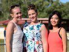 Alex Kelly, Madison Wintour and Mengchu Zhu enjoy the Anzac Day races at Wondai. Photo Keagan Elder / South Burnett Times