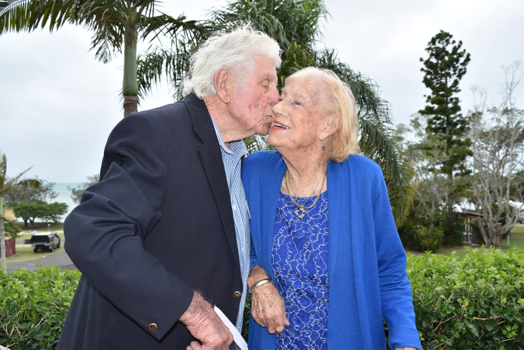 Urraween's Fred and Joan Wright celebrate their 75th wedding anniversary with a lunch surrounded by friends and family at the Hervey Bay Hotel. Photo Hannah Baker / Fraser Coast Chronicle