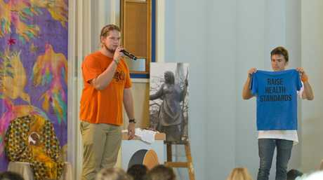 Lucas Patchett (left) and Nic Marchesi of Orange Sky, Australia's first free mobile laundry service for the disadvantaged, talk to students at the annual Captains' Council for School Leaders event hosted this year by St Ursula's College.