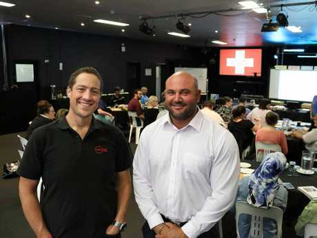 Metro Care operations manager Matt Gregg with Darling Downs Hospital and Health Service's Richard Henshaw at the mental health first aid course.