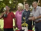 The owners of the Audi Centre Toowoomba Weetwood Handicap 2016 winner, Choice Bro, Craig and Anne Black celebrate with the trainer, jockey and staff at their Kingshthorpe home. From left; trainer Tony Sears, Anne Black, jockey Jimmy orman and Craig Black.