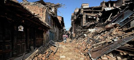 SHOCKING: A Nepalese man walks through destruction caused by the 7.8 magnitude earthquake on April 25, 2015, in Bhaktapur, on the outskirts of Kathmandu.