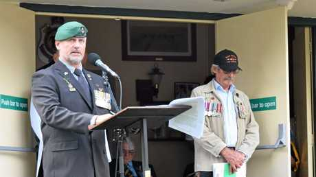 SACRIFICE REMEMBERED: The 2016 Bangalow Anzac Day address was given by Nick Hill from the Second Commando Regiment, a veteran of the war in Afghanistan.Photo Christian Morrow / Byron Shire News