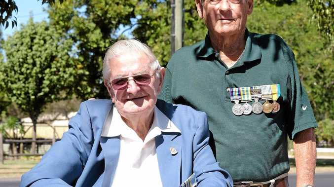 Korean War veterans Peter Ellem and Harry Casey at the Kapyong Day service on Sunday, April 24.
