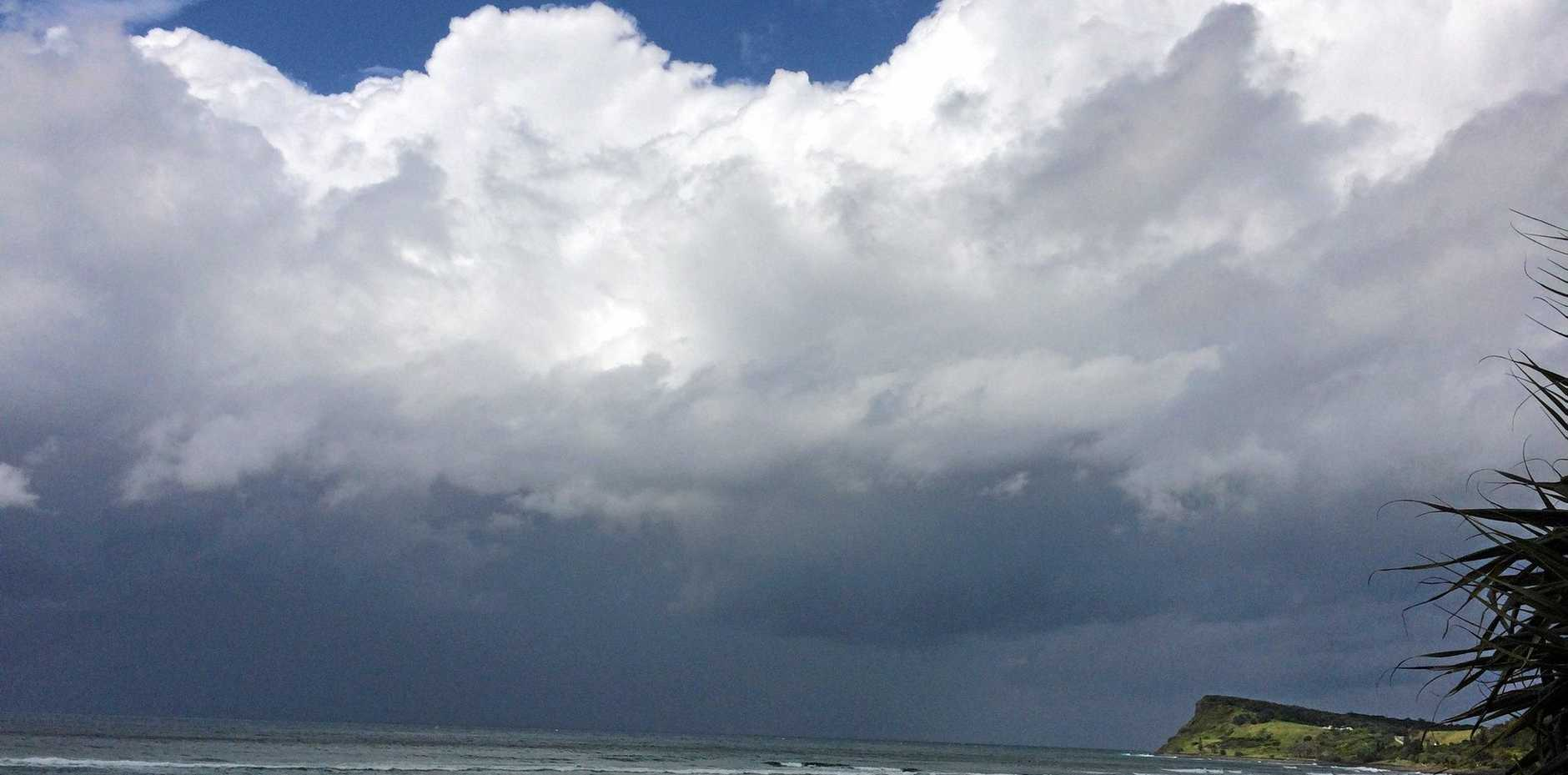 Dramatic clouds on the horizon at Lennox Head.