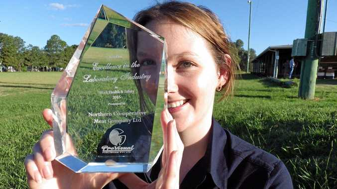 SMART AND AMBITIOUS: Jess Tunnage with her award for her laboratory work.
