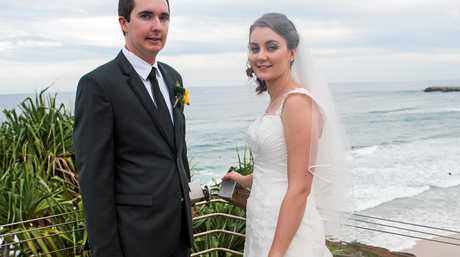 Elizabeth and Adam Izzard were given a love lock for their wedding which was hung at the Ballina Lighthouse lookout.