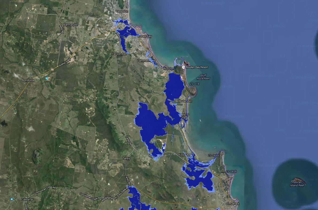 Coastal Tides online map showing where high tides will reach in 2100 due to climate change causing rising sea levels