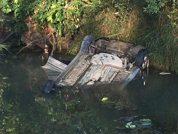 Erica Morris' car flipped over the side of the Running Creek Bridge, landing upside down in the creek.