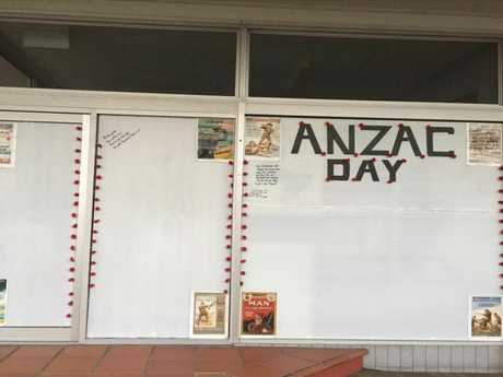 BLANK SPACE: At the beginning of Anzac day, only one message of support had been left.