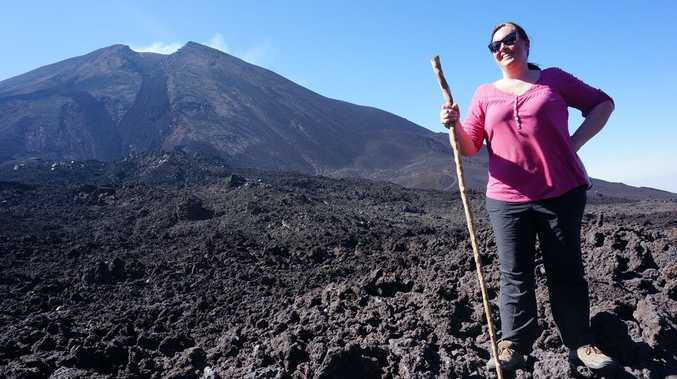Reporter Rae Wilson after the 4km hike up Pacaya Volcano near Antigua in Guatemala.