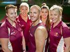 Lauren Atkin, Lisa Hohn, Mick Ward, Elsie Lancaster and Michelle Lynch will represent Queensland at the Australian Indoor Netball Championships in Mackay. Wednesday 27 Apr , 2016.