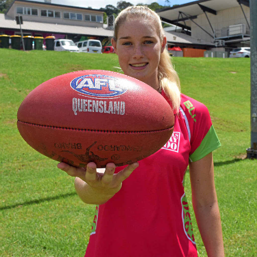 COUP: Brisbane Aussie rules player Tayla Harris will be a guest at today's come and try session, which is aimed at under-16 girls.