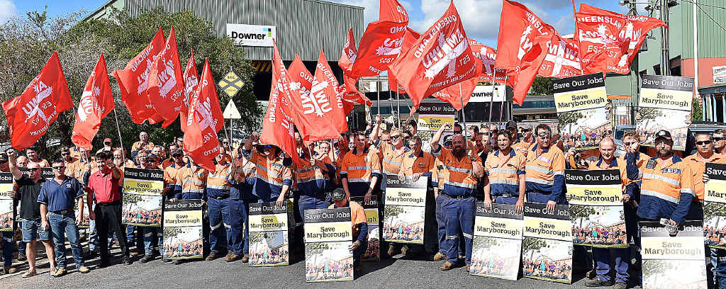 HELP WANTED: Workers from Downer rally outside their workplace to win more contracts for their company – and job security for workers.