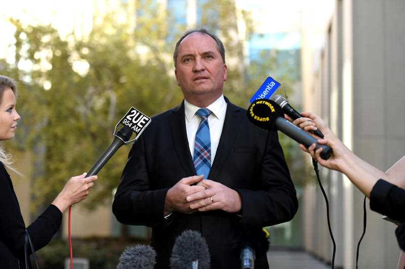 Deputy Prime Minister Barnaby Joyce speaks at a press conference at Parliament House in Canberra on Wednesday, April 27, 2016.
