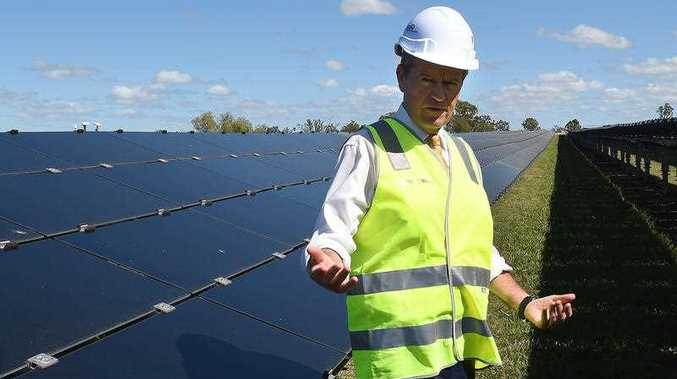 Labor leader Bill Shorten is seen at the University of Queensland Solar Research Facility at Gatton west of Brisbane, Wednesday, April 27, 2016. Mr Shorten has announced Labor's climate change policy, a pledge of 50 per cent renewable energy by 2030.