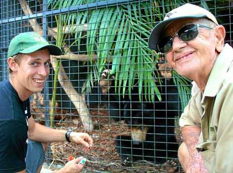 Bob Irwin at Maly the Sun bear's at Wildlife HQ