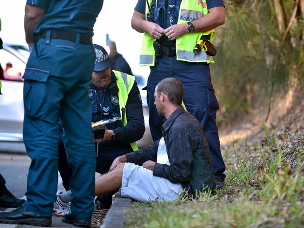 Dwayne Edward Merz, 32, is spoken to by police after crashing on Maroochydore Rd last year. He registered a blood alcohol level of 0.277.