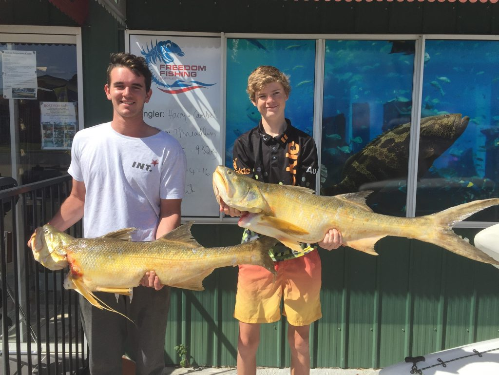 Cambel Black and Harry Miller braved the conditions early Sunday morning and came home with these twin 9kg plus threadfin salmon. Photo Freedom Fishing Supplies