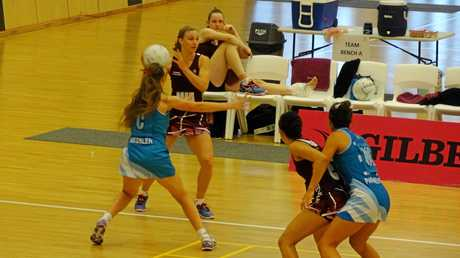 Matika Laycock in action for Queensland in the National Netball Championships.