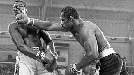 Ken Norton, right, and Larry Holmes battle for the WBC heavyweight championship at Caesars Palace in Las Vegas on Jun 9, 1978.